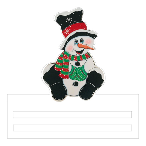 Snowman with green mittens Printed Wreath Rail