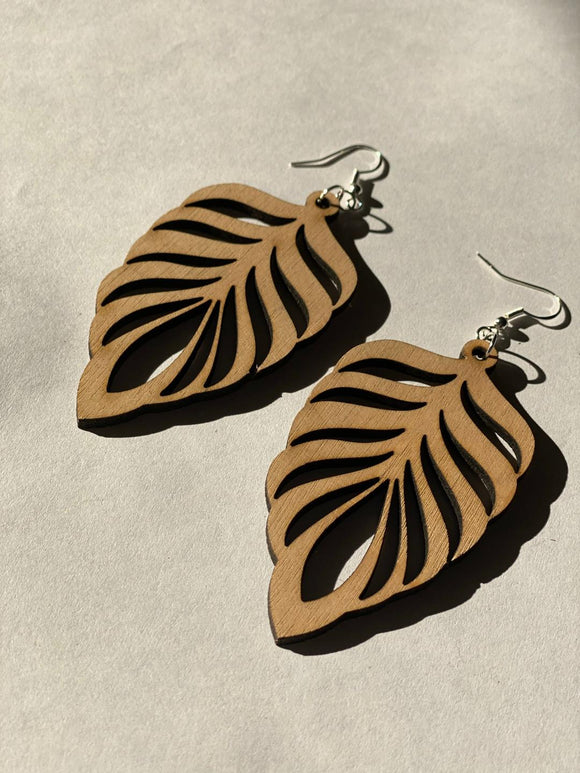 Leaf - Laser cut wood earrings