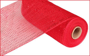 "10"" X 10yd Red W/Red Foil Metallic Value Mesh"