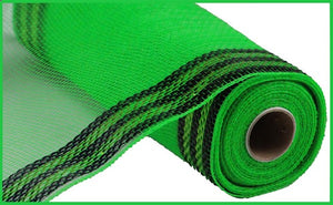 "10.25""X10yd Border Stripe Metallic Mesh - Lime/Black"