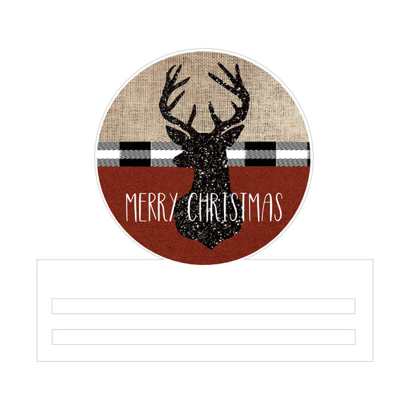Rustic Deer Christmas Printed Wreath Rail
