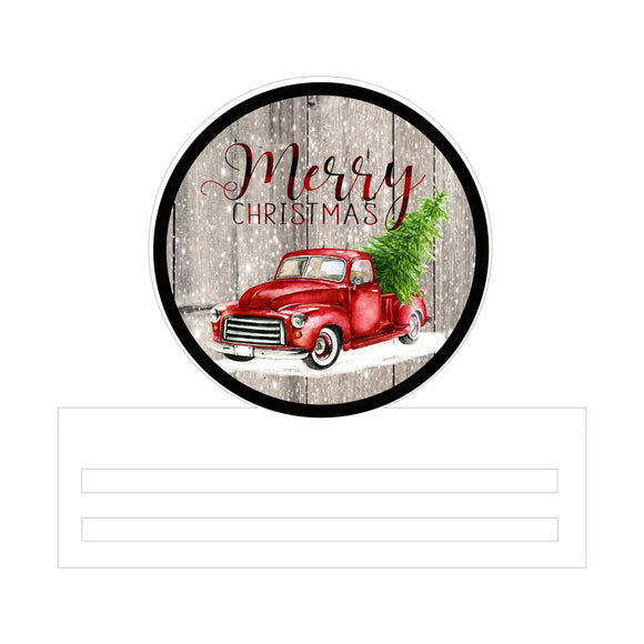 Merry Christmas Red Truck Printed Wreath Rail