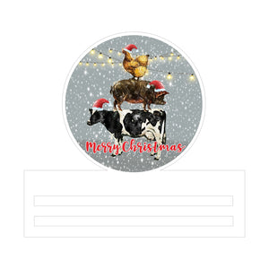 Cow Pig Chicken Christmas Printed Wreath Rail