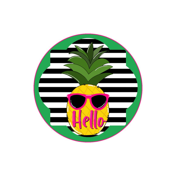 Hello Pineapple - Metal Wreath Sign