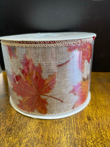 "2.5""X10yd Burlap Fall leaves"