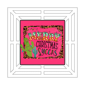 "Merry Christmas Succas Square Wreath Rail - 16"" Printed"