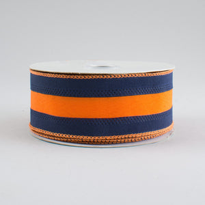 "1.5"" X 10 yd Navy & Orange strip ribbon"