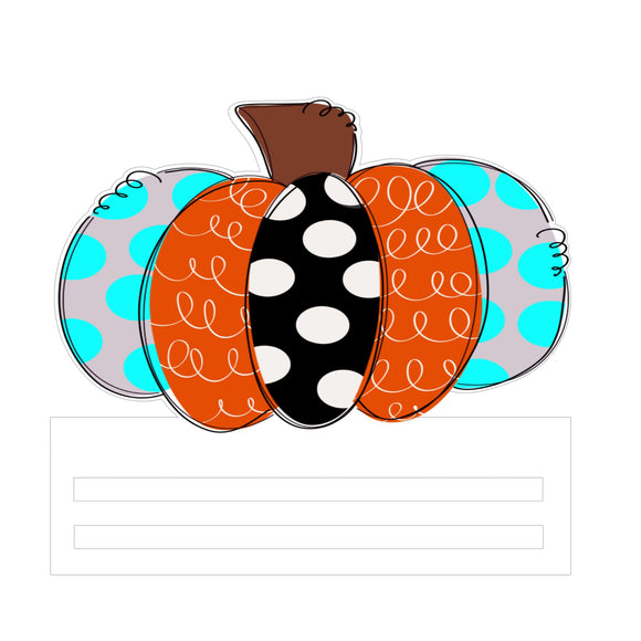 Patchwork Pumpkin Printed Wreath Rail