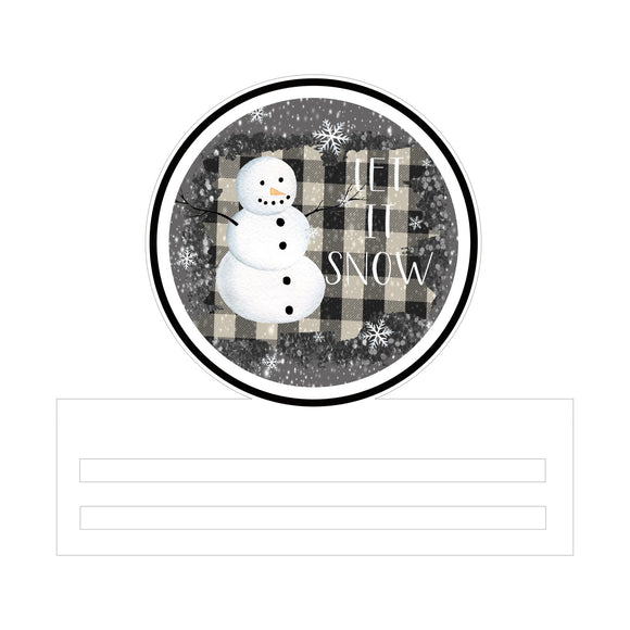 Snowman Let It Snow Printed Wreath Rail