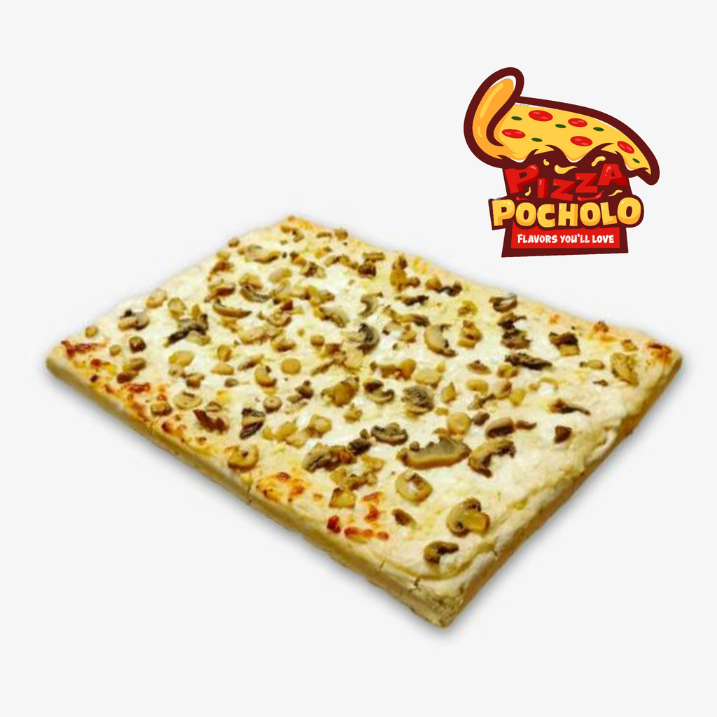 Pizza Pocholo Rectangle Double Cheese With Mushroom & Garlic  Pizza 14x10in