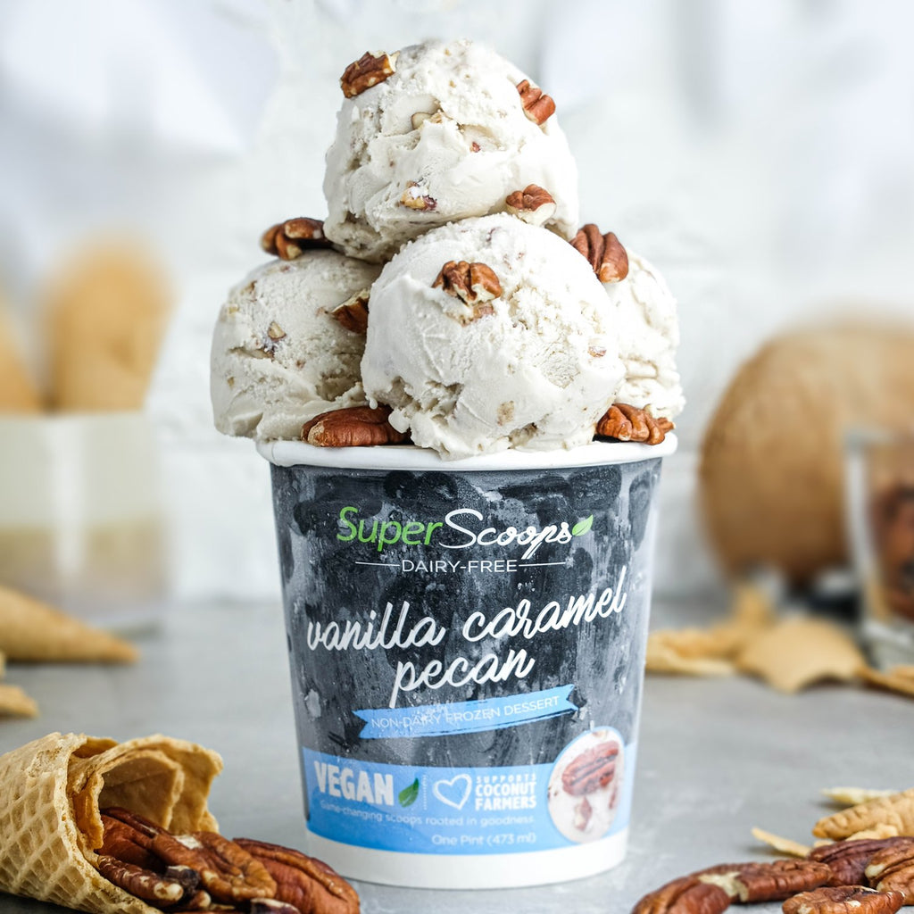 Super Scoops Vanilla Caramel Pecan Dairy-Free Vegan Ice Cream Pint