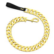 Gold Cuban Dog Leash With Leather Handle - Nekua - 1