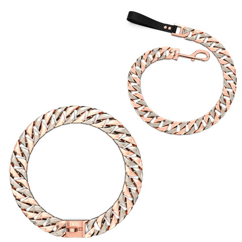 Rose Gold & Silver Two Tone Cuban Dog Chain Collar & Leash  - Nekua - 1
