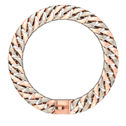 Rose Gold & Silver Two Tone Cuban Dog Chain Collar - Nekua - 1