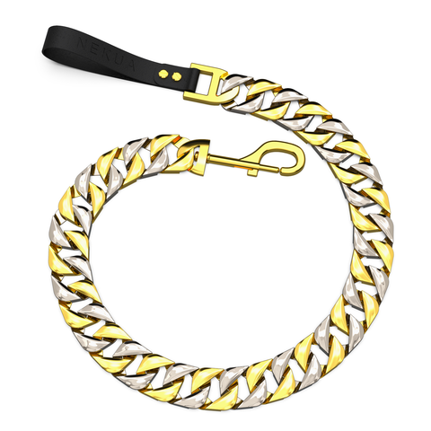 Gold & Silver Two Tone Cuban Dog Leash With Leather Handle pit bull - Nekua - 1