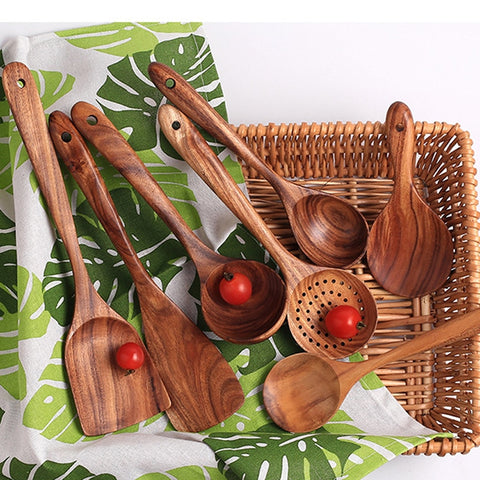7 Types Thai Wooden Utensils Set