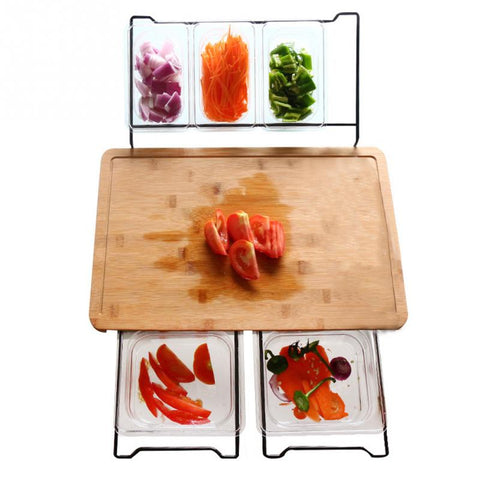 Bamboo Kitchen Cutting Board w/ 4 side storage