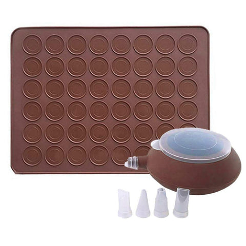Macaroon Silicone kit and Mat Non-Stick Baking Mold Set 48