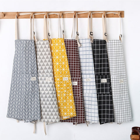 Cotton kitchen Apron with Geometric Print