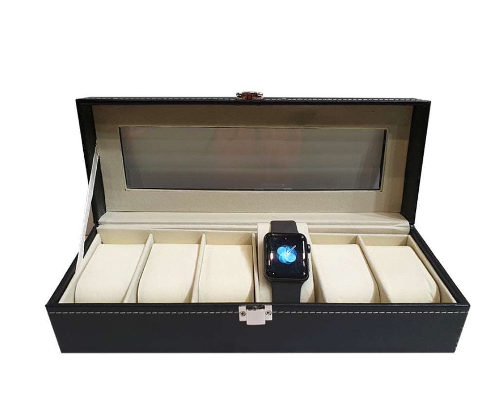 Faux leather watch box black