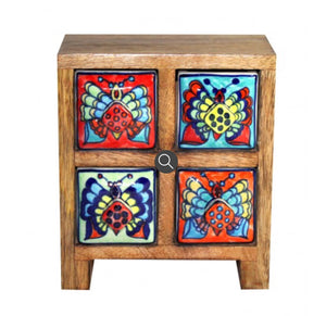 Wooden ceramics drawers 4 drawer butterfly