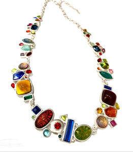 Gubo necklace, hand blown glass style 002