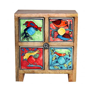 Wooden ceramics drawers 4 drawer bird