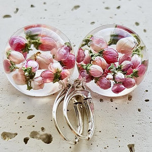 Resin sterling silver pink buds earings with short  hoop