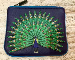 Leather coin purse peacock