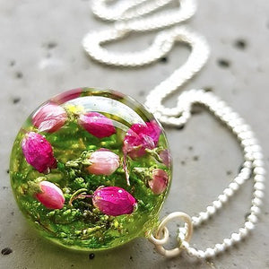 Resin sterling silver necklace with heather flowers
