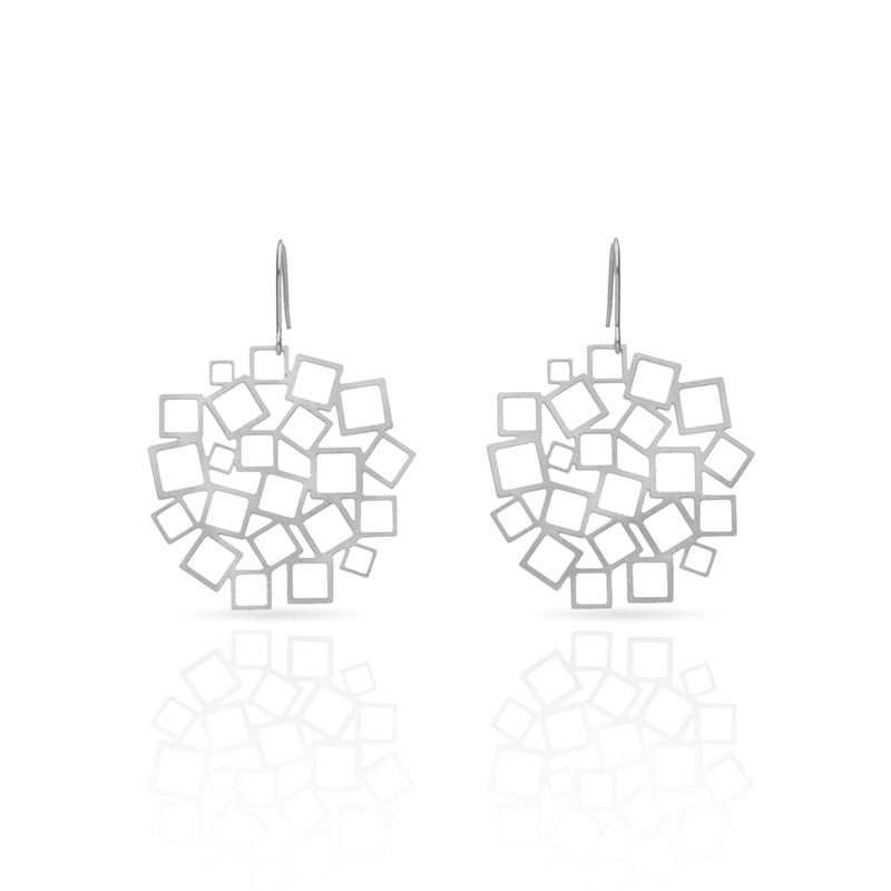 Squared square drop earrings