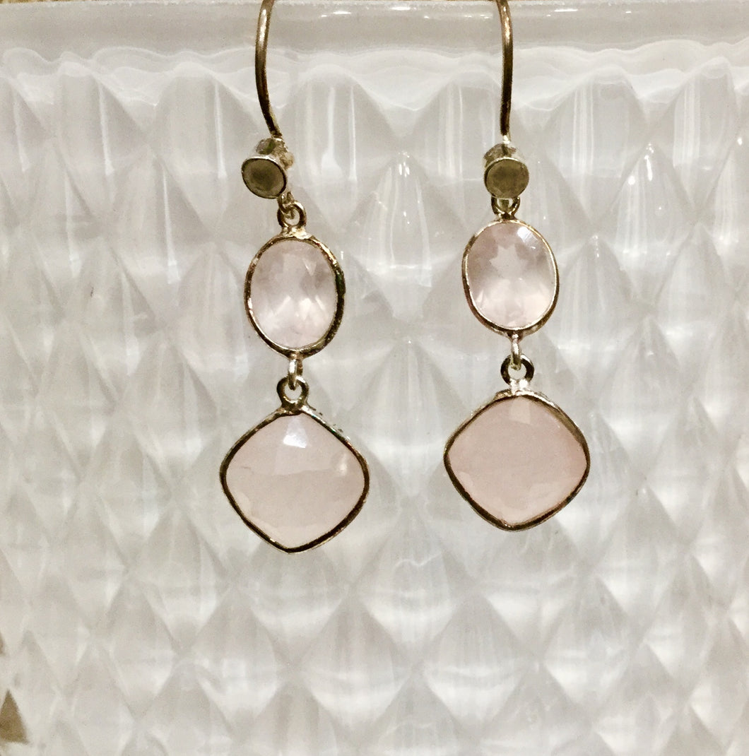 Pink quartz earings