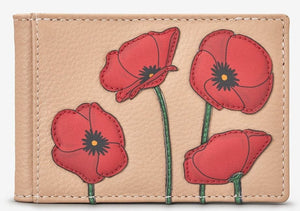 Leather travel pass poppies