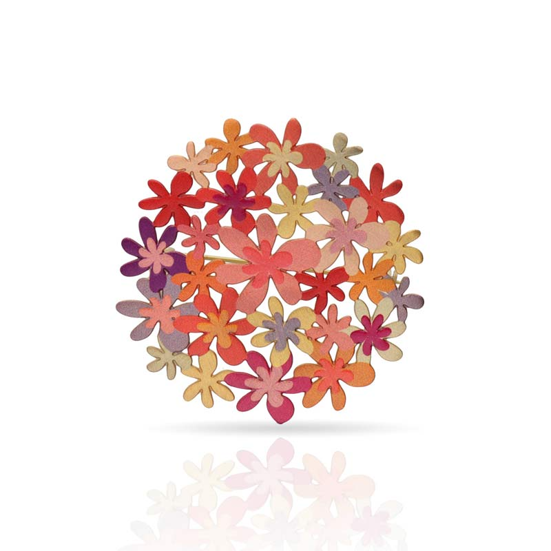 Orange bouquet drop brooch