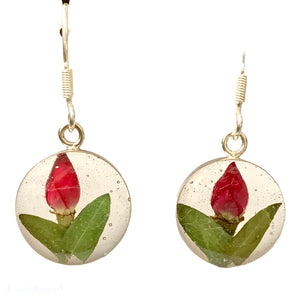 Flower resin earings small rose bud