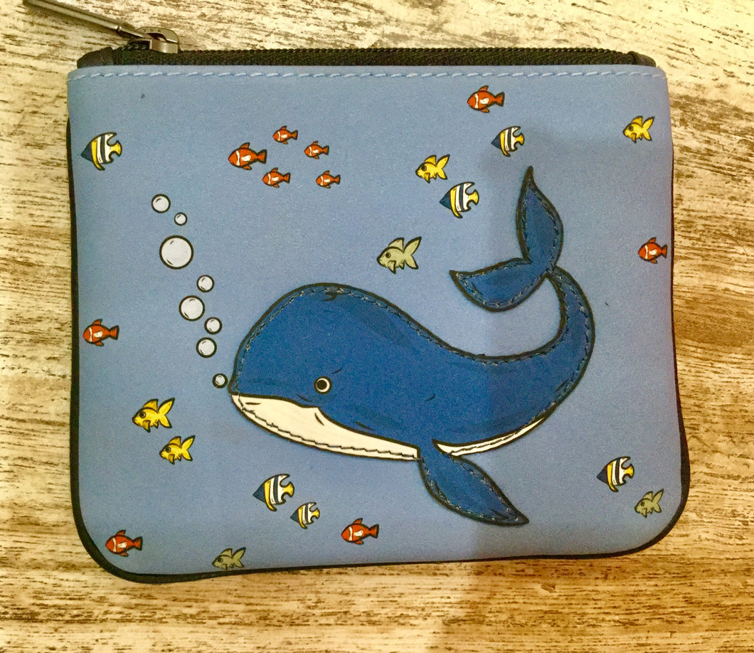 Leather coin purse Dolphin