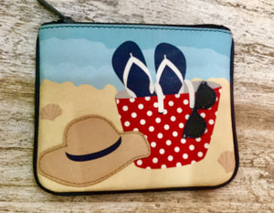 Leather coin purse Beach day