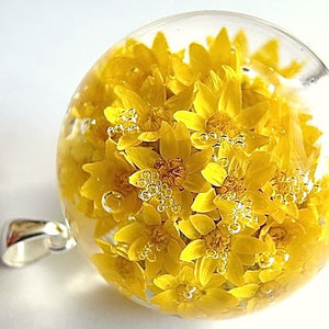 Resin sterling silver necklace with yellow flowers