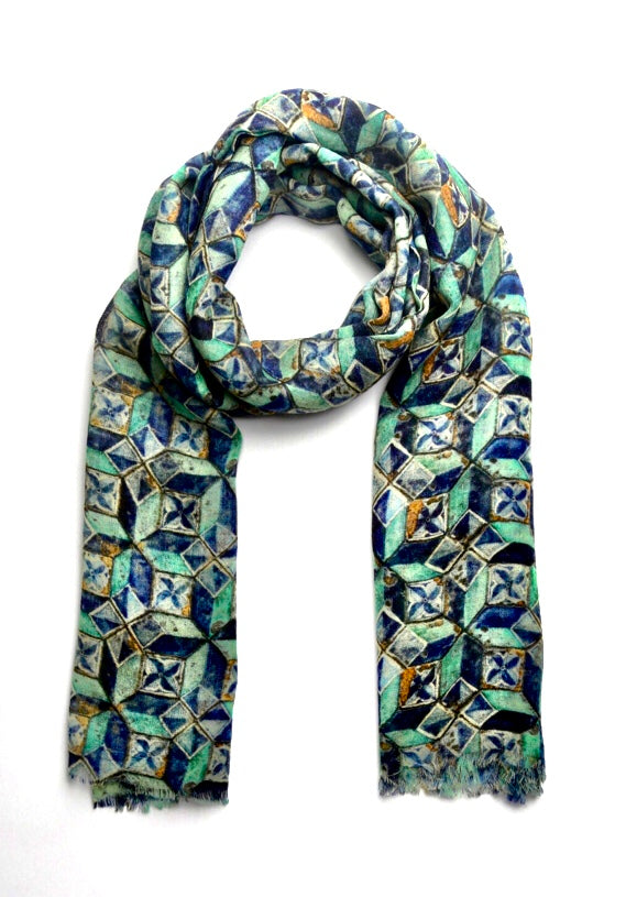 Wearable art scarf merino wool, silk geometric