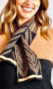 Merino wool scarf cashew light