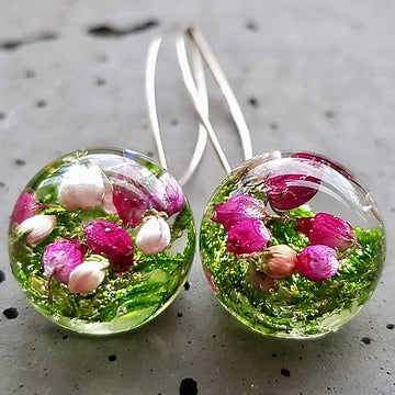 Resin sterling silver  heather flower  earings with long  hoop