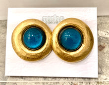 Load image into Gallery viewer, Gubo earrings  hand blown glass earrings blue/gold