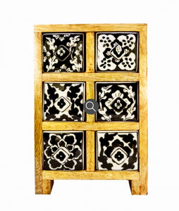 Wooden ceramics drawers 6 draw bl/wh