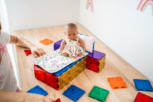 Load image into Gallery viewer, Magnetic tile baby bed made with Learn and Grow Magnetic Tiles - 110 piece set