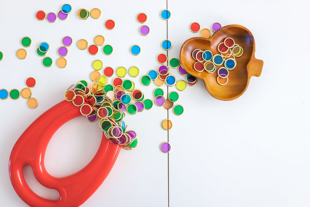 Metal Rimmed Counting Chips for counting, sensory and creative play with magnets