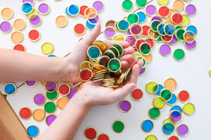 Brighly coloured Metal Rimmed Counting Chips for counting, sensory and creative play with magnets