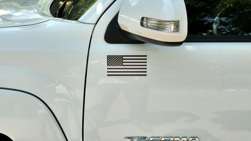Matte Black American Flag sticker for truck/car door! (LEFT)