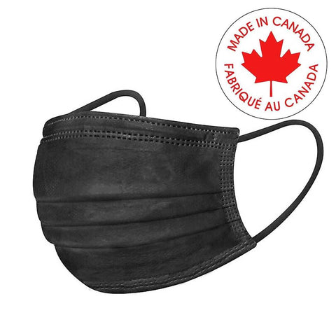 MADE IN CANADA Black Surgical Ear-loop Masks-Level II - Canada Gloves Direct