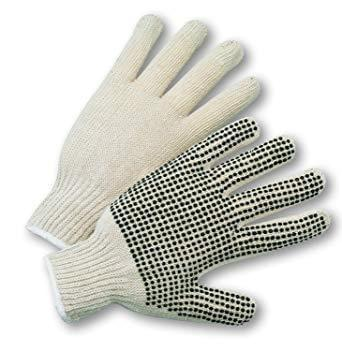 12 pairs pack - String Knit Gloves with PVC Dots - Canada Gloves Direct