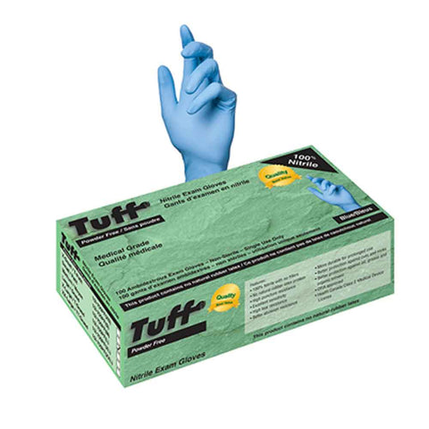 Tuff 4 mil Blue Nitrile Exam Gloves Powder Free Medical Grade - Canada Gloves Direct